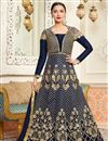 image of Eid Special Gauhar Khan Navy Blue Designer Embroidered Anarkali Suit In Art Silk And Net Fabric