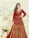 image of Krystle Dsouza Maroon Embroidered Function Wear Long Anarkali Suit