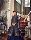 image of Party Wear Fancy Georgette Floor Length Anarkali Dress In Navy Blue