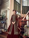 image of Fancy Function Wear Maroon Designer Long Anarkali Suit In Georgette