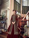image of Designer Function Wear Fancy Maroon Anarkali Salwar Kameez In Georgette