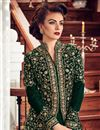 photo of Fancy Georgette Long Anarkali Salwar Suit In Dark Green For Parties
