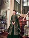 image of Fancy Georgette Long Anarkali Salwar Suit In Dark Green For Parties
