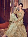 photo of Net Fabric Khaki Color Occasion Wear Palazzo Suit With Embroidery Work