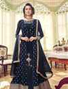 photo of Party Wear Embroidered Anarkali Suit In Navy Blue Color