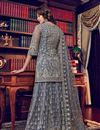 photo of Grey Color Net Fabric Festive Wear Palazzo Salwar Kameez With Embroidery Work