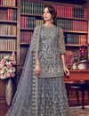 image of Eid Special Embroidery Designs On Net Fabric Grey Color Function Wear Palazzo Salwar Suit