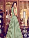 photo of Embroidery Designs On Sea Green Color Party Wear Anarkali Suit In Jacquard Silk Fabric