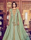 image of Embroidery Designs On Sea Green Color Party Wear Anarkali Suit In Jacquard Silk Fabric
