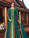 image of Embroidery Work On Art Silk Fabric Teal Wedding Wear Anarkali Salwar Suit