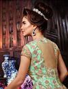 photo of Embroidered Sea Green Net Fabric Function Wear Anarkali Suit