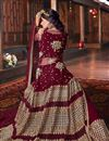 photo of Net Fabric Maroon Occasion Wear Palazzo Suit With Embroidery Work