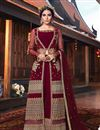 image of Net Fabric Maroon Occasion Wear Palazzo Suit With Embroidery Work