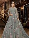 image of Designer Function Wear Grey Color Net Fabric Embroidered Floor Length Anarkali Suit