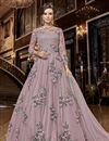 image of Function Wear Net Fabric Designer Embroidered Long Length Anarkali Dress In Pink Color