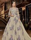 image of Designer Net Fabric Function Wear Embroidered Cream Color Long Length Anarkali Suit