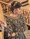 photo of Sangeet Wear Net Fabric Elegant Embroidered Long Length Anarkali Dress In Grey Color