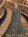 image of Sangeet Wear Net Fabric Elegant Embroidered Long Length Anarkali Dress In Grey Color