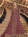 image of Elegant Net Fabric Sangeet Wear Embroidered Pink Color Floor Length Anarkali Suit