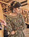 photo of Dark Beige Color Sangeet Wear Elegant Embroidered Long Length Anarkali Dress In Net Fabric