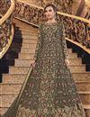 image of Dark Beige Color Sangeet Wear Elegant Embroidered Long Length Anarkali Dress In Net Fabric