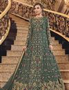 image of Elegant Sangeet Wear Net Fabric Mehendi Green Color Embroidered Floor Length Anarkali Suit