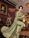 photo of Elegant Wedding Function Wear Sea Green Color Net Fabric Embroidered Anarkali Suit