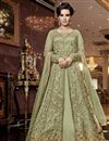 image of Elegant Wedding Function Wear Sea Green Color Net Fabric Embroidered Anarkali Suit