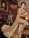 photo of Elegant Net Fabric Wedding Function Wear Embroidered Peach Color Anarkali Suit