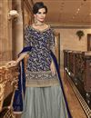 image of Party Wear Net Fabric Elegant Embroidered Palazzo Dress In Navy Blue Color