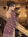 photo of Elegant Net Fabric Party Wear Embroidered Wine Color Palazzo Suit