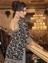 photo of Elegant Party Wear Black Color Net Fabric Embroidered Palazzo Suit