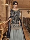 image of Elegant Party Wear Net Fabric Black Color Embroidered Palazzo Suit