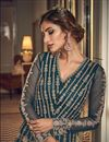 photo of Net Fabric Reception Wear Teal Color Embroidered Long Length Anarkali Suit