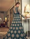picture of Net Fabric Reception Wear Teal Color Embroidered Long Length Anarkali Suit