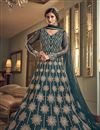 image of Net Fabric Reception Wear Teal Color Embroidered Long Length Anarkali Suit