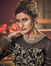 photo of Net Fabric Reception Wear Black Color Embroidered Long Length Anarkali Suit