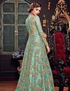 photo of Cyan Function Wear Net Fabric Designer Floor Legth Anarkali Dress With Work