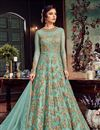 image of Cyan Function Wear Net Fabric Designer Floor Legth Anarkali Dress With Work