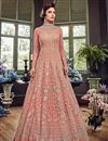 image of Wedding Function Wear Peach Embroidered Designer Long Anarkali