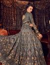 photo of Grey Color Party Wear Net Fabric Anarkali Suit With Embroidery Work