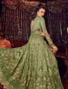 photo of Embroidery Work On Net Fabric Green Color Wedding Wear Anarkali Salwar Suit