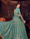 photo of Cyan Color Net Fabric Sangeet Wear Anarkali Suit With Embroidery Work