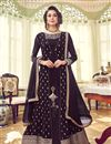 image of Function Wear Designer Wine Color Georgette Embroidered Floor Length Anarkali Suit