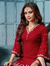 photo of Embroidery Work On Red Georgette Function Wear Palazzo Suit