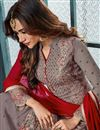 photo of Embroidery Work On Georgette Grey Function Wear Palazzo Suit