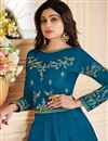 photo of Shamita Shetty Sky Blue Art Silk Fabric Function Wear Embroidered Anarkali Suit
