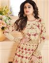 photo of Shamita Shetty Festive Wear Anarkali Salwar Suit In Beige Art Silk Fabric