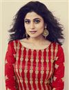 photo of Shamita Shetty Embroidered Anarkali Salwar Suit In Red Art Silk