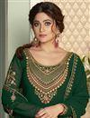 photo of Shamita Shetty Sangeet Wear Dark Green Color Georgette Fabric Designer Sharara Top Lehenga